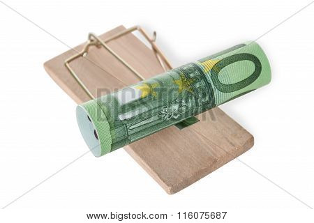 Rolled Euro Note On Mousetrap