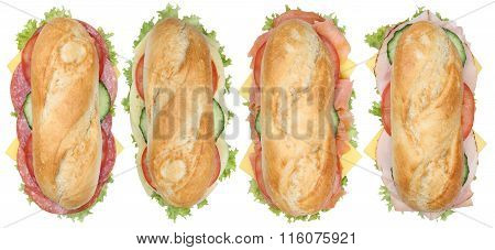 Collection Of Sub Sandwiches Baguettes With Salami, Ham And Cheese Top View Isolated