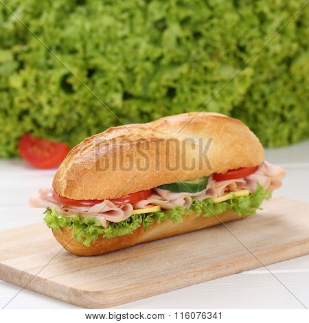 Healthy Eating Sub Deli Sandwich Baguette With Ham
