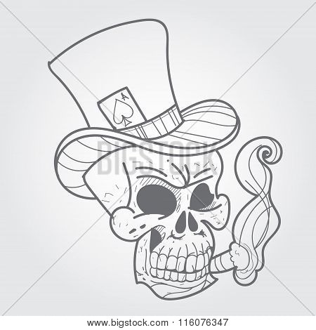 Gentleman's skull logo design - Vintage Skull Collection