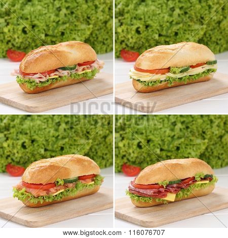 Healthy Eating Collection Of Sub Sandwiches With Ham, Salami And Cheese