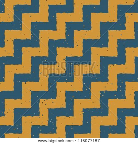 Vector Seamless Blue Yellow Color Hand Drawn Zigzag Distorted Step Lines Grungy Chevron Pattern