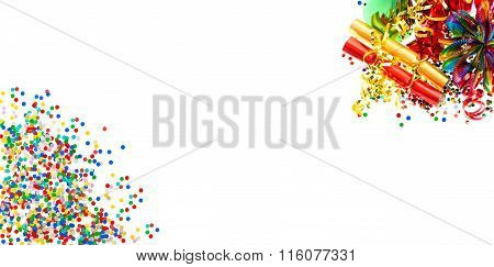 Holidays Banner. Garlands, Serpentine And Confetti