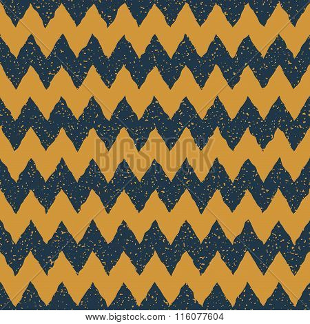 Vector Seamless Blue Yellow Color Hand Drawn Horizontal Zigzag Distorted Lines Grungy Chevron Patter