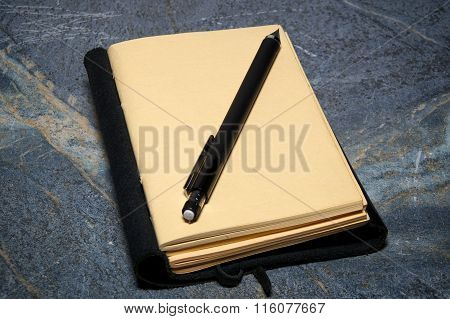 Open Journal With Mechanical Pencil