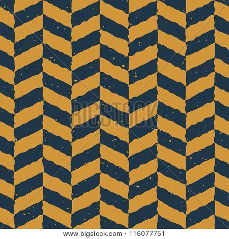 Vector Seamless Blue Yellow Color Hand Drawn Checker Distorted Parallelograms Grungy Pattern