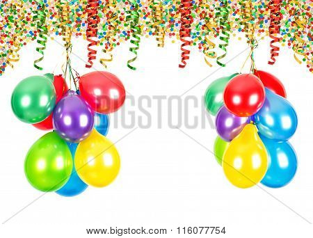 Party Decoration. Air Balloons, Confetti, Serpentine