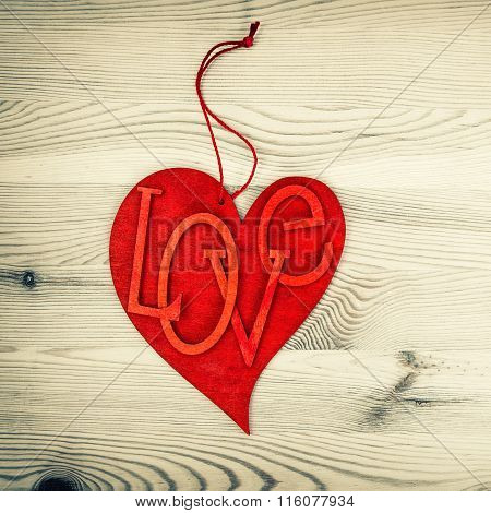 Red Heart. Love And Valentines Day. Vintage Style