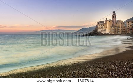 Church On The Beach On Sunset In Camogli, Near Genoa, Italy