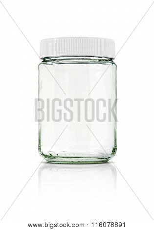 Clear Glass Bottle With White Cap Isolated On White Background