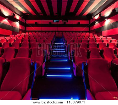Empty comfortable red seats in cinema