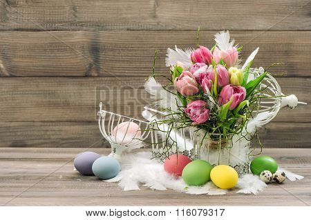 Easter Decoration Eggs And Pink Tulip Flowers