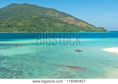Summer, Travel, Vacation And Holiday Concept - Tropical Beach, Longtail Boats, Andaman Sea In Phuket