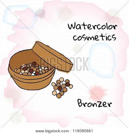 Watercolor cosmetics. Watercolor bronzer on a blurred background