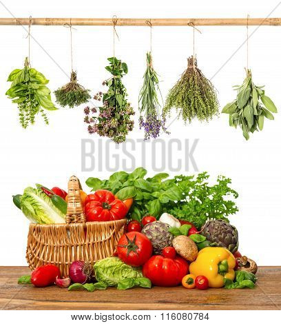 Vegetables And Herbs On White Background. Healthy Food