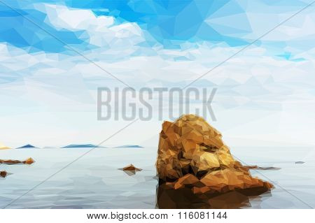 Beautiful Seascape With Rocks And Cloudy Sky In Low Poly Style.