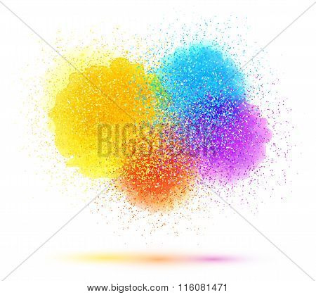 Colorful paint splash and powder cloud on white background