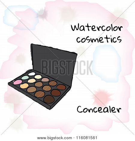 Watercolor cosmetics. Watercolor concealer on a blurred background