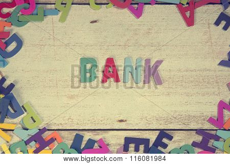 Bank Word Block Concept Photo On Plank Wood