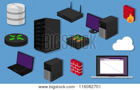 network topology LAN objects icon design router server networking hardware switch