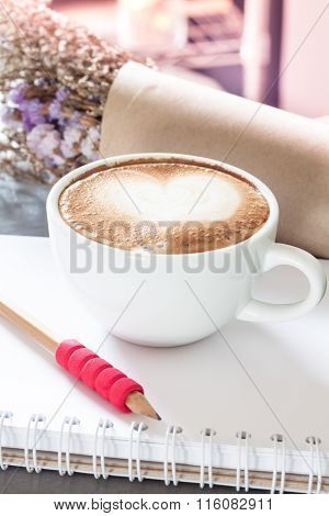 Coffee Cup With Notepad On Grey Background
