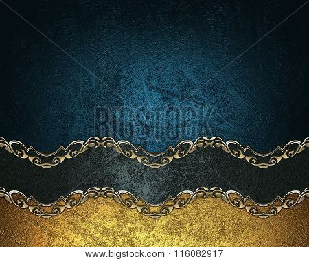 Grunge Blue Background With A Black Ribbon With Gold Pattern. Element For Design. Template For Desig