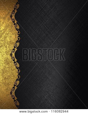 Black Grunge Background With Gold Pattern. Element For Design. Template For Design. Copy Space For A
