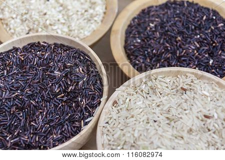 Image Of Black Rice And White Rice On Bowl Wooden