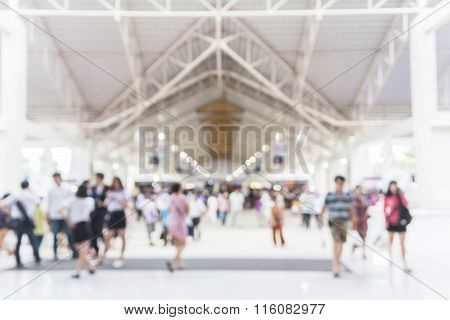 Image Of Blurred City Hall And People Urban Scene