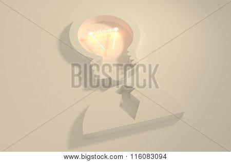 Lamp Head Businessman 3D Icon. Idea Text