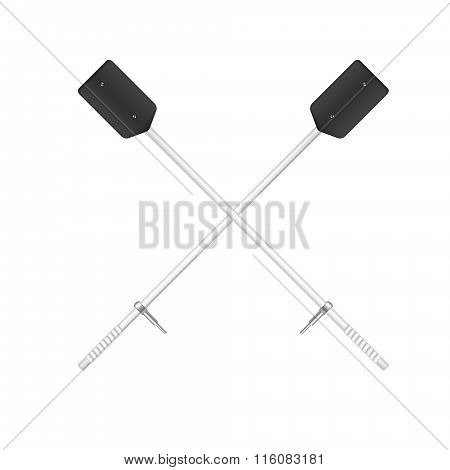 Two crossed old oars in black and white design