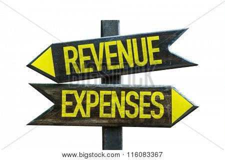 Revenue - Expenses signpost isolated on white background