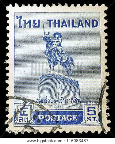 Thailand - Circa 1955: Old Stamp Features Thai King Taksin (1767-1782) Riding On Horse Sword Handle