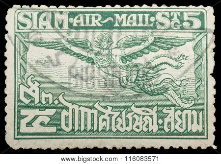 Thailand - Circa 1929: Old Stamp Features Of Garuda Has Spread Its Wings On Stamp 5 Satang Price. Th