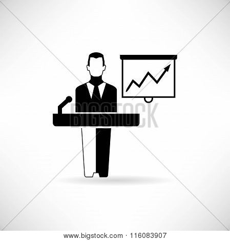 businessman presenting on podium