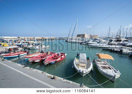 Boat dock of Heraklion port. Crete.