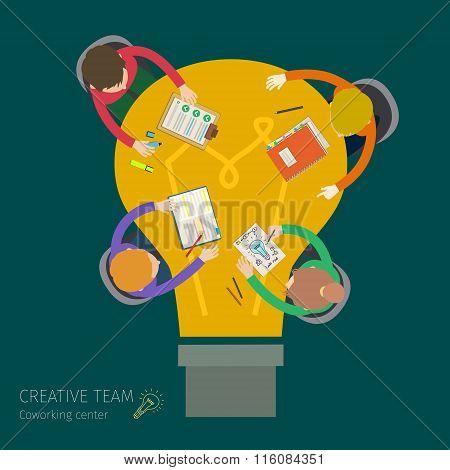 Concept of creative teamwork.