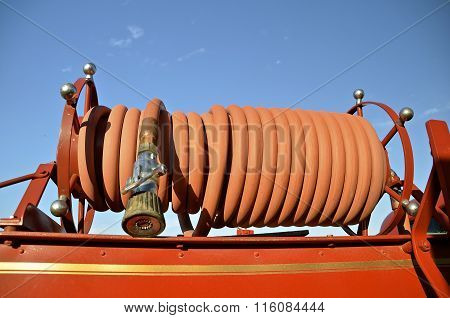 Old wrapped hose of fire fighting equipment