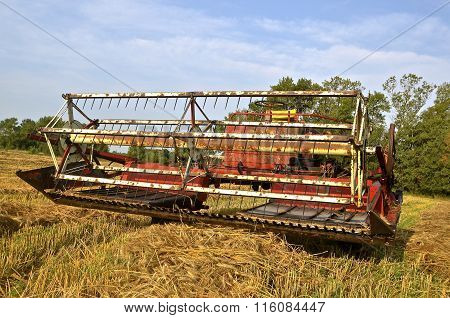 Old self propelled grain swather