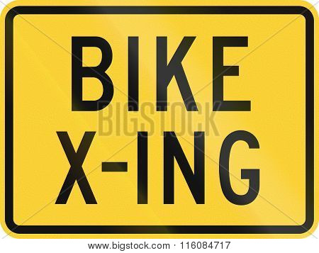 Road Sign Used In The Us State Of Delaware - Bike Crossing