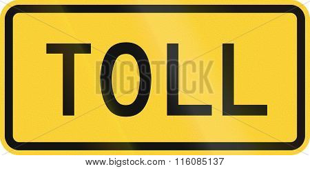 Road Sign Used In The Us State Of Delaware - Toll