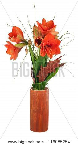 Autumn Composition From Amaryllis Flowers.