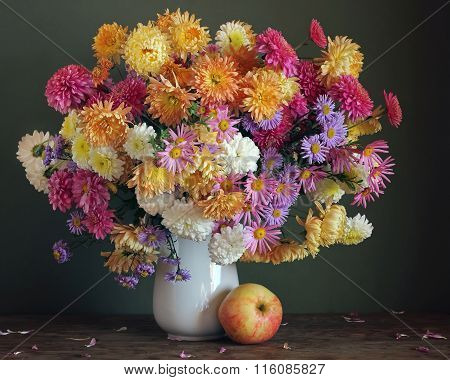 Chrysanthemums. Card, Congratulation, Invitation.