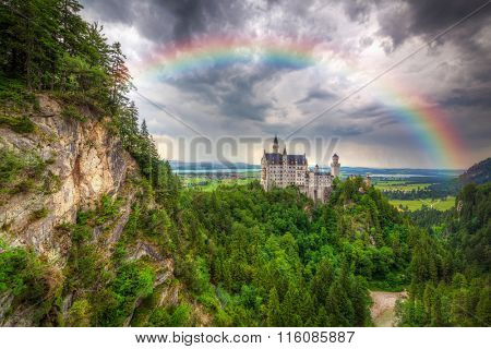 Rainbow over Neuschwanstein Castle in the Bavarian Alps, Germany