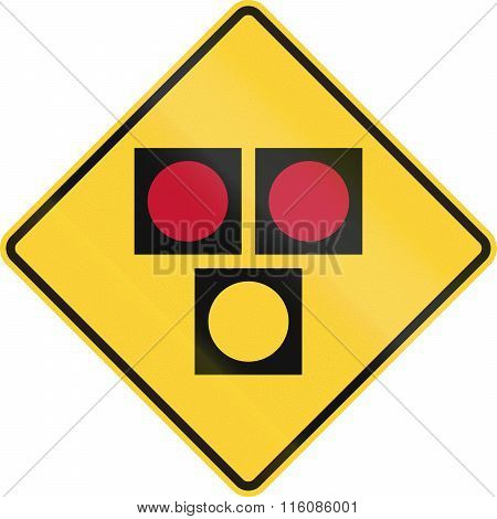 Road Sign Used In The Us State Of Delaware - Warning Sign For A Hawk Pedestrian Crossing