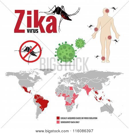 Zika virus and Human and stop mosquito sign and map world