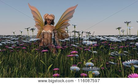 the fairy in meadow grass