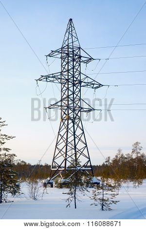 Line Of Electricity Transmission In The Winter Forest .