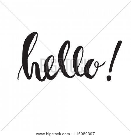 Ink painted word Hello. Lettering on white background. Dry brush illustration. Hello!-phrase