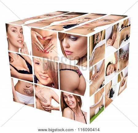 Fashion body collage of young women